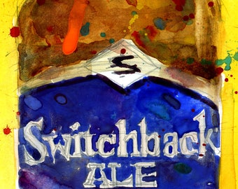 SwitchBack Ale  Vermont Archival or Giclee Print from Original Watercolor Painting - Bar Decor - Man Cave