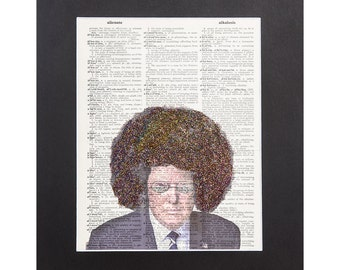 Donald Trump Dictionary Page | Donald Trump Afro Digital Manipulation Skyline Glasses with Sparks of Glitter 11''X14'' Mat