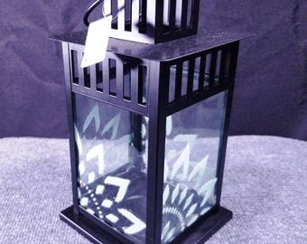"""Candle Lantern - Lt. Aqua  Mandala Pattern 8x11"""""""