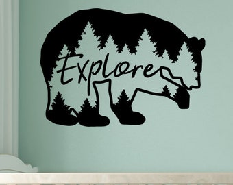 Explore Bear Wall Quotes Vinyl Wall Decal Travel Mountains Nature Camp Travel Hike Inspiration Quote