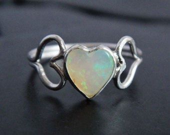 Natural Australian Opal and Sterling Silver Heart Ring - Silver Promise Ring - Sweetheart Ring - Heart Ring - Genuine Opal - Romantic Ring