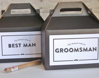 Set 10 Groomsman Kraft Gable Boxes - Black and White Vintage Moddern Hipster - Groomsmen - best man bridal party gift