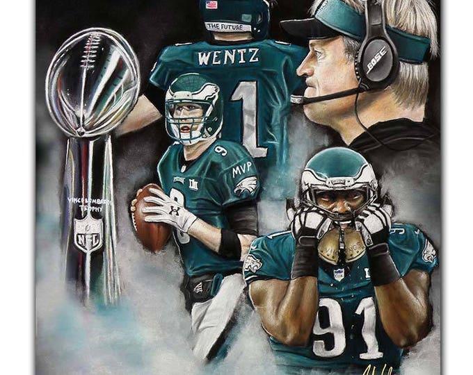 Philadelphia Ealges - Super Bowl 52 - Artwork - Fletcher Cox - Super Bowl - Nick Foles - MVP - Carson Wentz - Man Cave