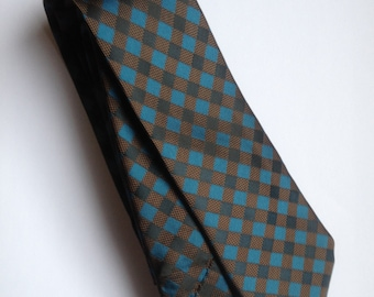 Black & Blue Checkered Skinny Tie | mens tie | jacquard tie | skinny tie | wedding tie | red tie | wedding ideas | groom | best man