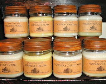 8 ounce Natural Soy Candles- Hand poured in mason jars with Primitive Rusty Lid Lots of scents to choose from in the Scent Picture and menu