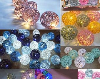 String Lights, Wedding decoration, Custom colors Fairy Lights, Night light, Christmas Lights, 8-15 Lace Crochet balls, garland lights