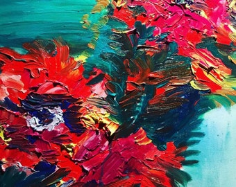 abstract tapestry flowers