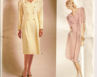 Vogue 1805, Size 12, Albert Nipon Designer, Misses Dress Pattern, Double-Breasted, Lined Dress, Uncut, Sewing Pattern, Sewing Supplies,Retro