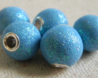 Beautiful Kashmiri Glitter Beads from India -- Aqua -- 13mm -- 5pcs.