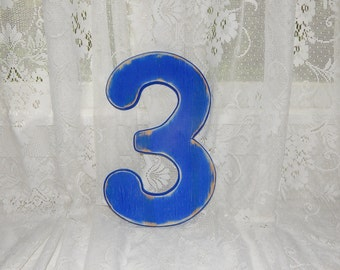 Number 3 Wall Decor Distressed Numbers 12 Inch Numbers Birthday Party Photo Props Wood Numbers