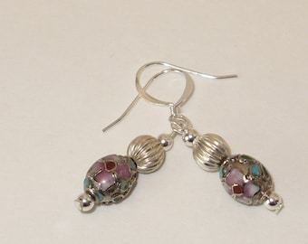 Pink and teal cloisonne with embossed silver bead earrings.
