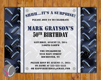 Surprise Birthday Masculine Invite Diamond Plated Blue Black Tool Mechanic Themed Surprise 30th 40th 50th 60th 5x7 Digital JPG File (239)