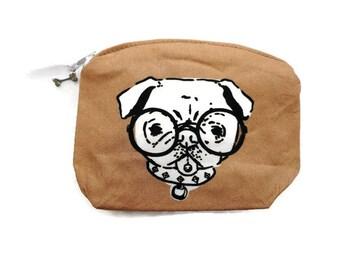 Pug Coin Purse Small Dog Coin Purse Pug Dog Accessory Dog Zipper Bag Dog Coin Purse Dog Lover Gift Dog Bag Cotton Coin Purse made in France