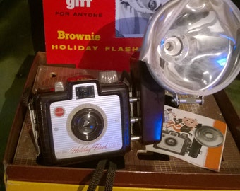 Vintage Brownie Holiday camera by Kodak with flash.