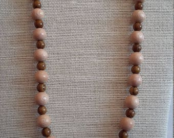 Necklace with Rosewood and Natural Wood Beads on Faux Leather Cord