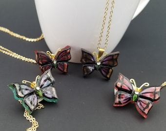 Shimmering Monarch Butterfly Necklace