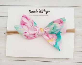 Hair bow self tie bow floral bow