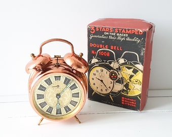 Vintage alarm clock copper Kienzle * old clocks * collectible alarm clock * double bell clock * copper home decoration