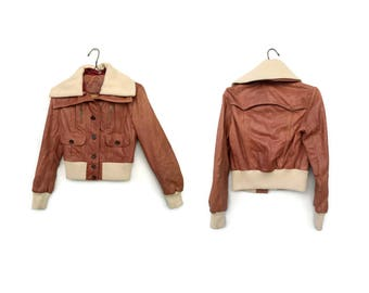 Vintage womens jacket /Womens leather jacket / Womens  GUESS JEANS long sleeve tan lamb leather jacket size S