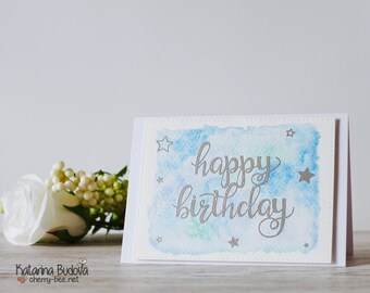 Handmade Happy Birthday Card with Blue Watercoloured Background and Silver Heat Embossed Sentiment, A6, Blank with Envelope