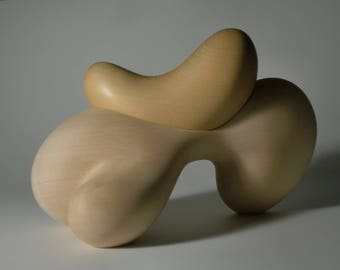 Abstract Wood Sculpture - Mother Earth No.1 - Carved Using Hand Tools From Yellow Cedar and beeswax - Freestanding, Expressionist, Modern