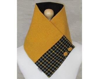 Harris Tweed Mustard & Sage Check Wool Neck Warmer Scarf with Button Detail