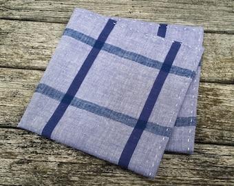 Blue Checked Pocket Square - Retro Pocket Square - Blue Men Hanky -  Men Pocket Square - Checked Pocket Chief-Blue Pocket Chief -Mini Bowtie