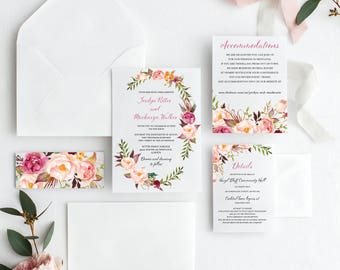 Printable Wedding Invitation,Floral Wedding,Invitation Suite,Wedding Stationery,Bohemian Wedding,Calligraphy,Invitation Template, Belly Band