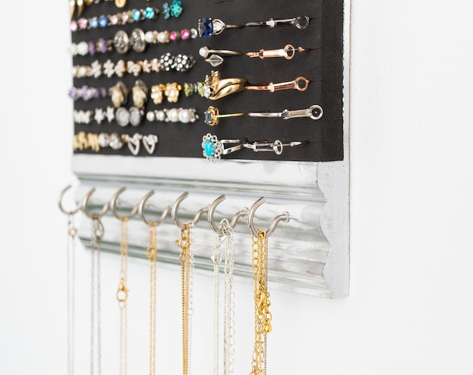 Hanging Jewelry Organizer - Silver Molding Frame - Necklace - Ring - Earring Holder