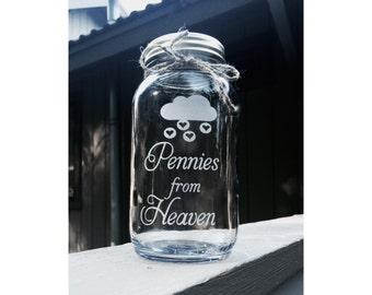 Pennies from Heaven, Mason Jar, Quart Mason Jar