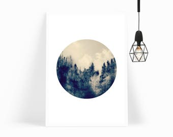 Large 24x36' Abstract Print, 20x30' Watercolor Print, Circle Art Print, Instant Download, Arctic Forest, Watercolor Circle Art, Poster Print