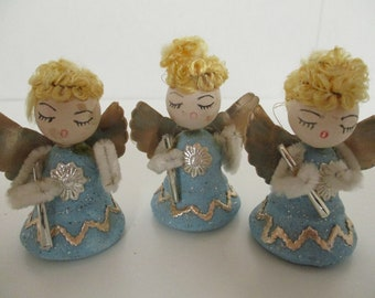Vintage Spun Cotton Angels, Set of 3 Christmas Angels, 1950's Christmas Decorations, Made in Japan, Christmas Angels