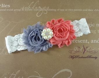 Bridal Garter, KeepSake Garter, Shabby Rosette Gray and Coral Red Garter, Garter set, Garter belt, Wedding Garter, lace garter GTF0028CR