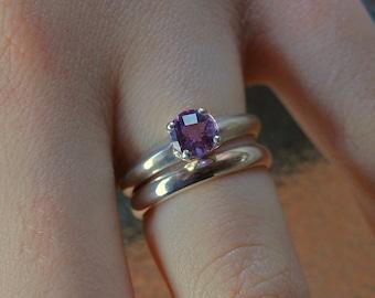 Ali- Amethyst gemstone ring, alternate engagement ring, amethyst solitaire ring, amethyst wedding ring, February birthstone, silver ring