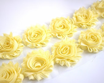 Pale yellow art etsy pale yellow shabby chiffon flowers solid shabby rose trim shabby chiffon rosettes light mightylinksfo Choice Image