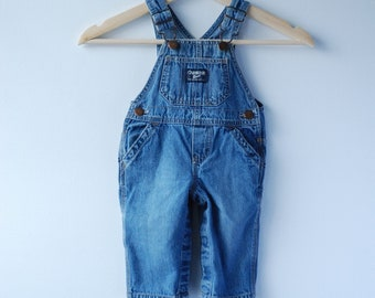 Vintage Osh Kosh Overalls | Osh Kosh Dungarees | 9 Months | 6 to 9 Months Baby Infant Overalls 90s | Faded Denim Overalls 6-9 Mo.