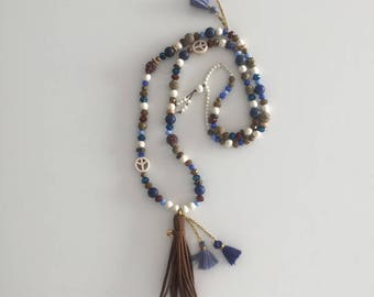 Necklace - Long necklace - Bohemian chic - Tassel pendant - Semi-precious stones - Gemstone beads.