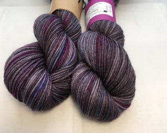 Silver DK Yarn - Stormy Garden - Ready to Ship - Hand Dyed - Merino Wool Yarn - Sock Yarn