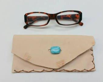 Leather Reading Glasses Case, Southwest Glasses Case, Leather Eye Glasses Case, Rustic Eye Glass Case