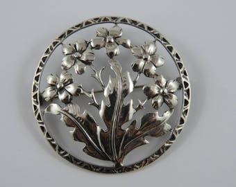 Sterling Silver Round Floral Brooch
