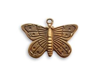 Vintaj Butterfly Charm - Antique Brass Butterfly Charm - Brass Oxidized Butterfly Charm - 14mm x 20mm Natural Brass