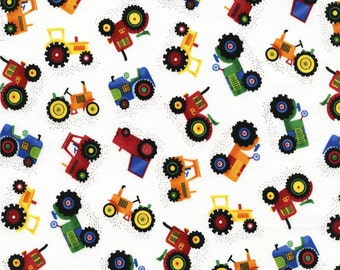 FAT QUARTER ONLY- Mini Farm Tractors from Timeless Treasure's Farm & Country Collection