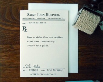 letterpress birthday prescription greeting card vintage ephemera inspired happy birthday