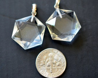 Natural Rock Crystal Pendant with Sterling Silver Bail 29 x 25mm, Hexagonal Crystal Pendant
