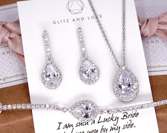 White Gold Wedding Bridesmaid Gift Bridal Earrings Necklace Bracelet Jewelry Set Clear White Cubic Zirconia Teardrop Ear Studs E306 B85 N221