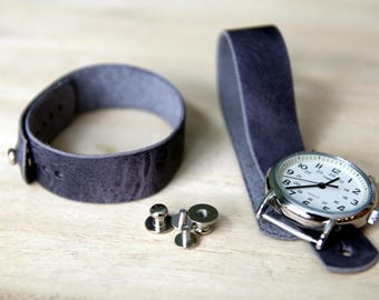 Leather watch strap for Timex Weekender - Horween Cascade Grey Vintage