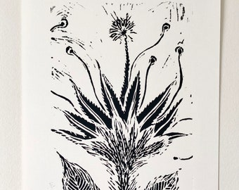 Triffid -  Limited edition handprinted linocut / A4 / printmaking / relief print