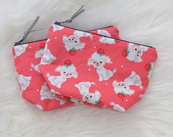 Puppy zipper pouch, cute white puppy, cosmetic bag