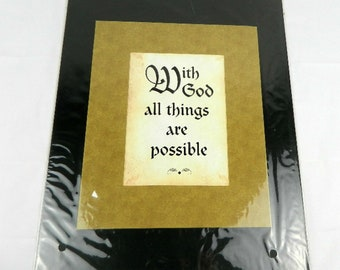 With God all things are possible frameable wall art with mat 11 x 1 4