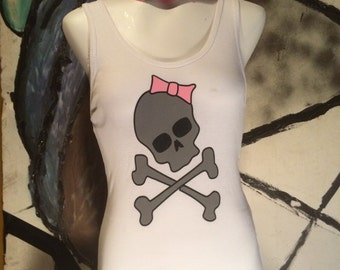 Skull and Bows White Tank Top